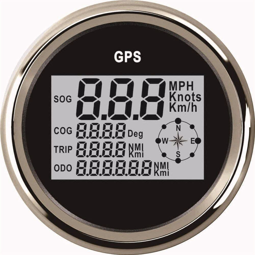 85mm GPS Digital Speedometer Gauge for Boat Car Motorcycle Waterproof Digital Speedometer with Backlight Stainless Bezel 100% brand new gps speedometer 60knots for auto boat with gps antenna white color