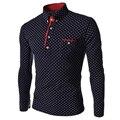 Diseñador de la marca para hombre gira el collar abajo polo camisa 2017 de manga larga polka dot polo camisas de vestido de slim fit camisas hombre de negocios tops
