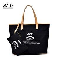 100% Cotton Canvas Handbag Brand High Quality Shoulder Bag Women Fashion Large Capacity Casual Bag Youth Joker Tote Bags Black