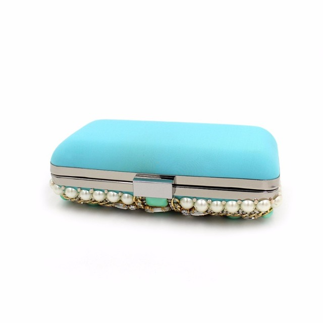 Mystic River Women Flower Beaded Evening Bags Crystal Clutches Oval Shaped Wedding Party Handbags Lady Shoulder Bule With Green