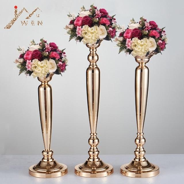 10 PCS/LOT Classic Metal Golden Candle Holders Wedding Table Road Lead Event Party Centerpiece Flower Vase Rack Home Decoration
