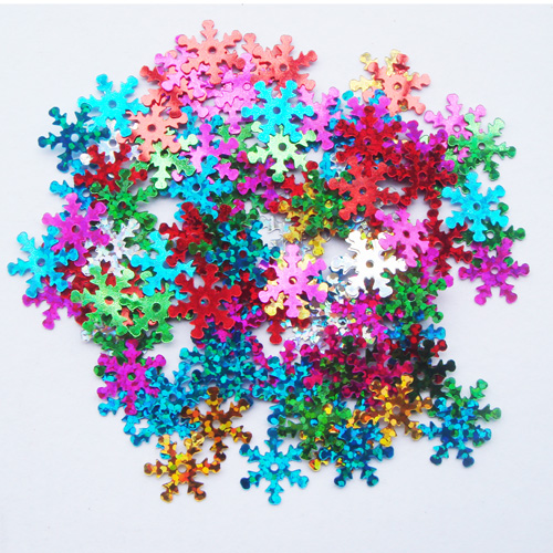 Free shipping 100pcs DIY craft materials 20*20MM laser glitter sequins snowflake shape or card decorative accessories for game
