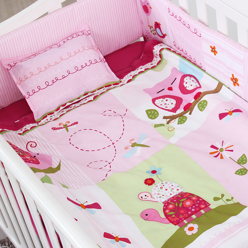 7PCS Embroidery Baby Crib Sets,Baby Girl Crib Bedding Set,Pink Soft Baby Bedding Sets,include(bumper+duvet+sheet+pillow)