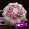 Aonita Discount Purple Pink and Red Wedding Bouquet Handmade Artificial Flower Rose Bridal Bouquet for Wedding Decoration