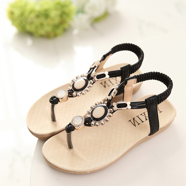 7fd4752c44182 Summer Teenage Girls Sandals Children Shoes Rhinestone Princess Dress Shoes  Flip Flops With Elastic Band Beach Sandal Size 26-36