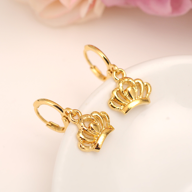 Crown Earring For Women Birthday Gift Trendy 14 K Solid Gold Color Filled Beautiful Engagement