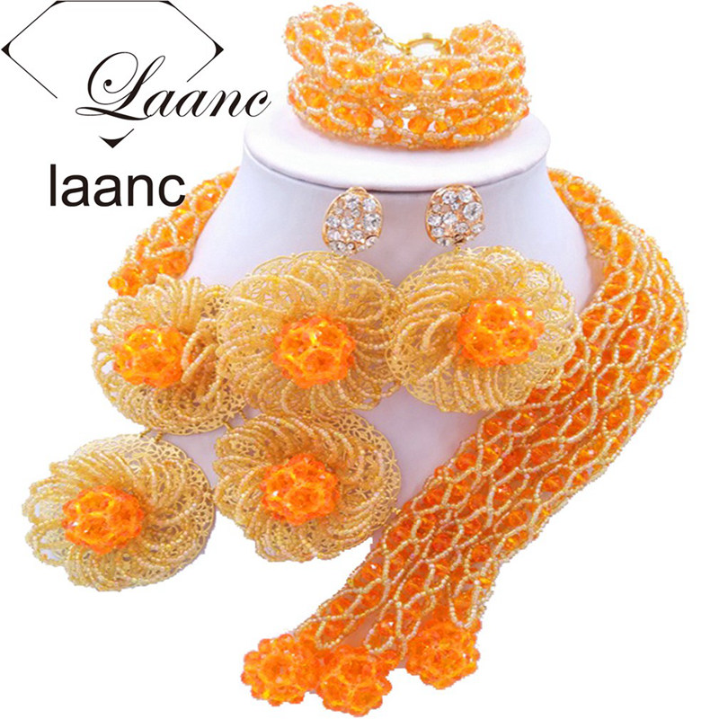 Laanc African Orange and Gold Bead Jewelry Set for Women Nigerian Wedding Beads Flower Necklace and Earrings FBFE004 dandie fashionable necklace with orange acrylic bead elegant weave braid bead necklace jewelry for women