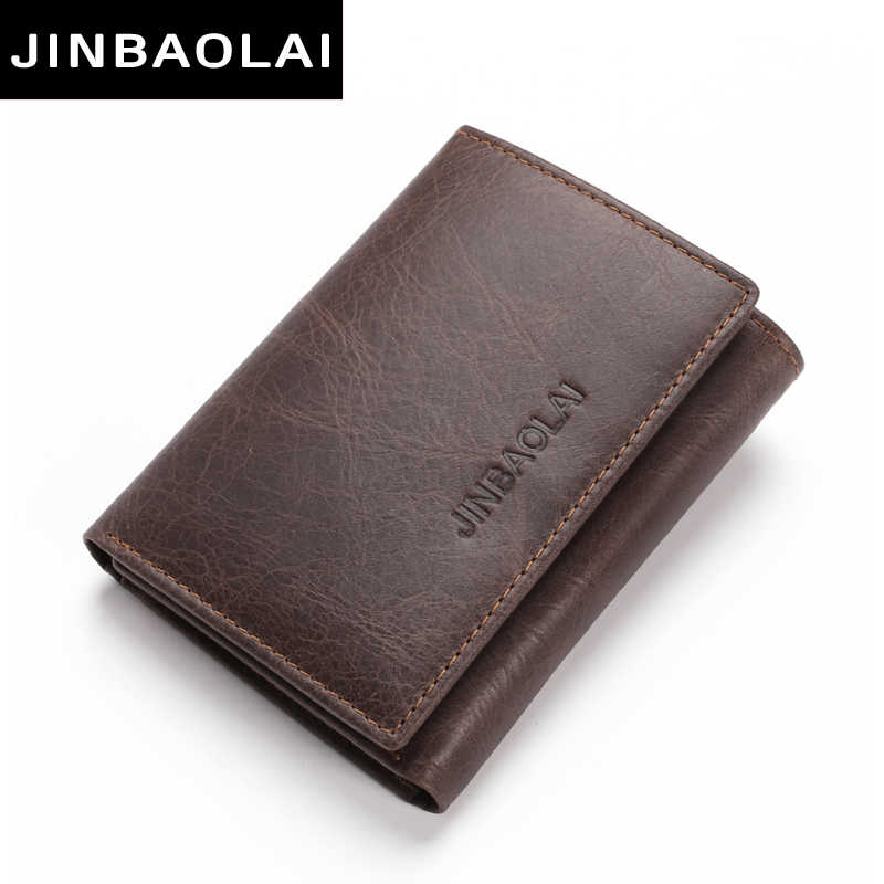 RFID Genuine Leather Wallets 3 Fold Soft Male Purse 2 Color Cow Leather Handmade Wallets Credit Card Holder Carteira Purses Bags