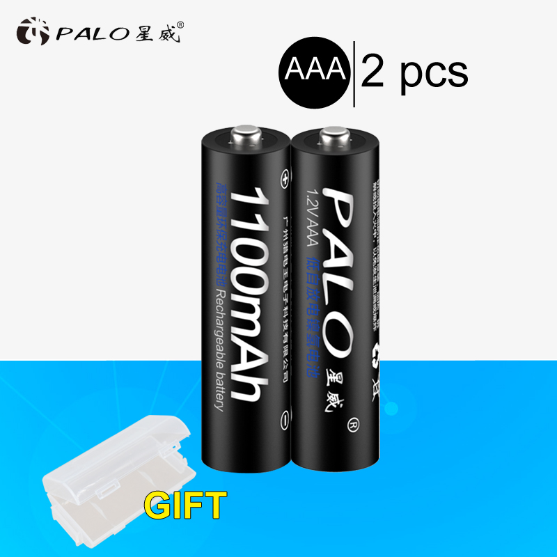 PALO 2 Pieces Rechargeable Batteries 1.2V AAA 1100mAh Ni-MH Pre-charged Battery 3A Bateria With A Box For Camera Toy Toothbrush image
