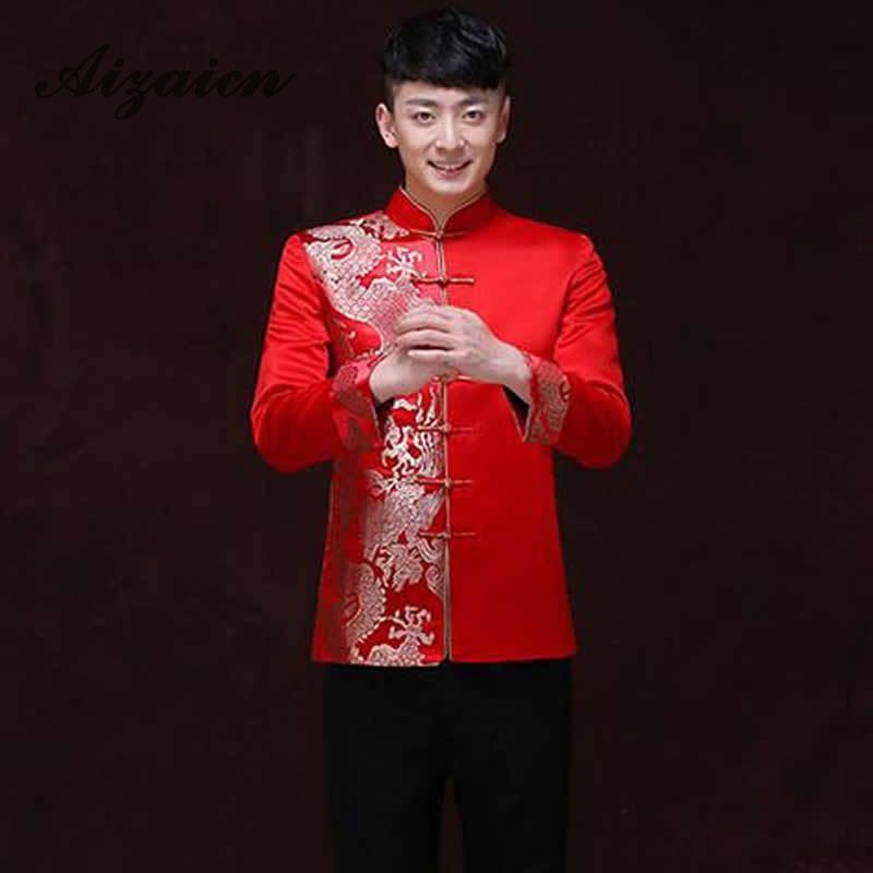 Röda Traditionella Kinesiska Kläder För Män Bröllop Ancient - Nationella kläder - Foto 4