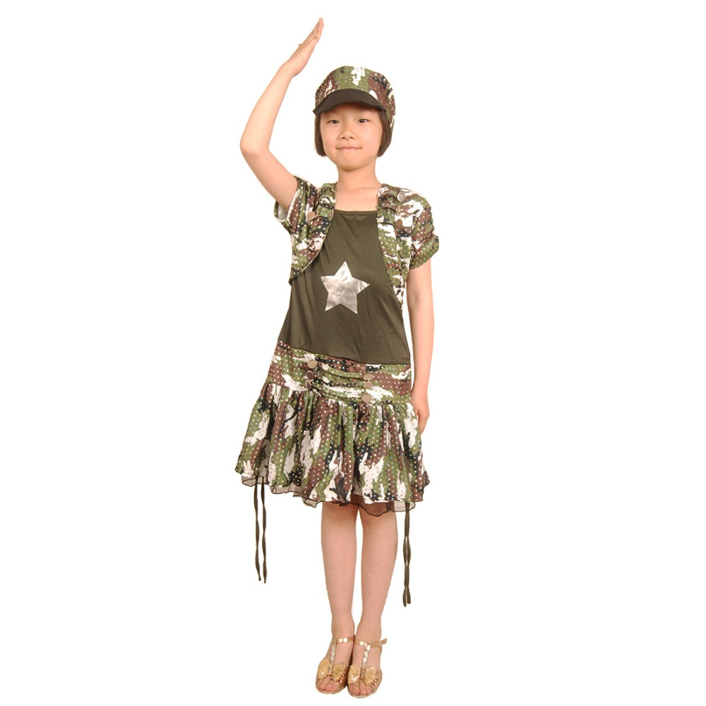 kids girls army costume military uniform soldier cosplay dress roleplay camouflage uniform halloween costume for children - Soldier Girl Halloween Costume