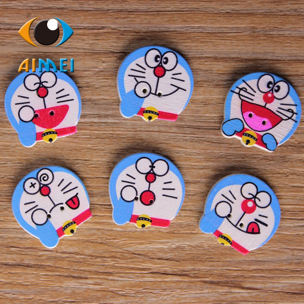 Wholesale/retailed 15pcs/lot Doraemon Painting Wooden painting buttons for children clothing DIY gift Decoration Card
