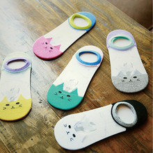 Women Girl Summer Cute Print Cat Transparent Socks Funny Animal Low Cut Ankle Sock Glass Sheer Mesh Hosiery