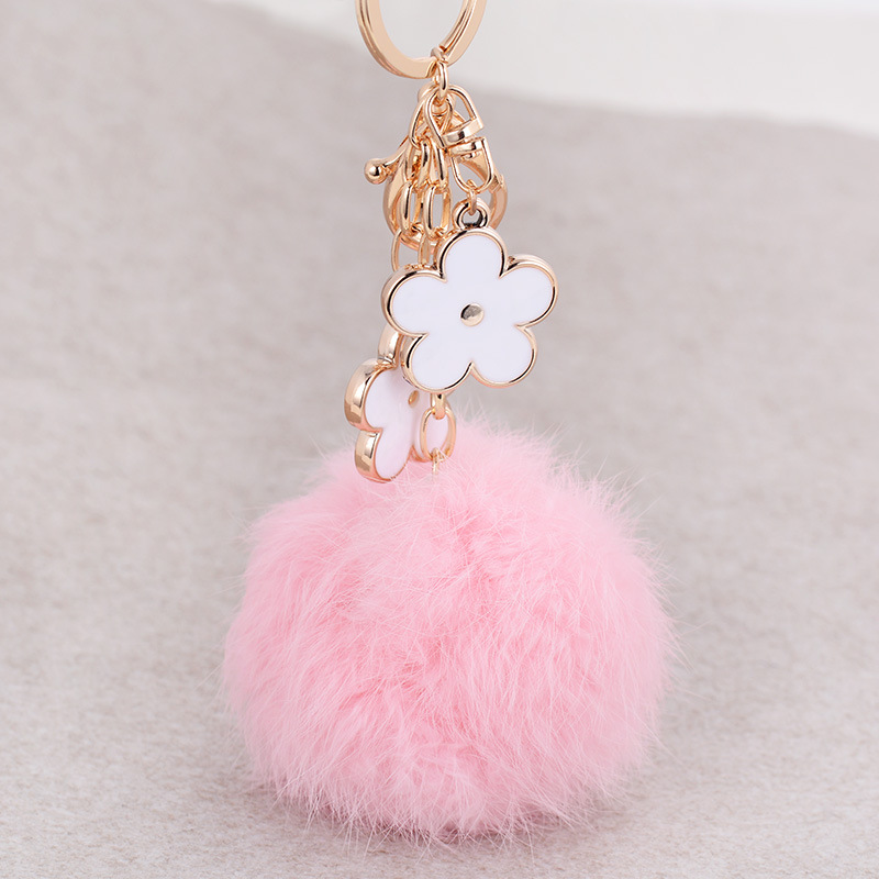 Fashion Brand Jewelry Ceramic Flower Round Rabbit Hair Lovely Car Key Chain Ring For Female Bags Charms Ball Gifts Jewelry & Accessories
