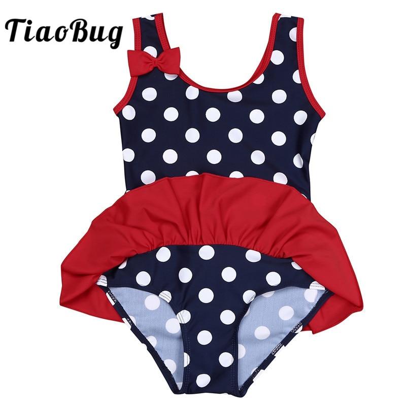 TiaoBug Baby Girls One-piece Sleeveless Polka Dots Swimsuit Kids Toddler Ruffles Swimwear Children Swim Beachwear Bathing Suit