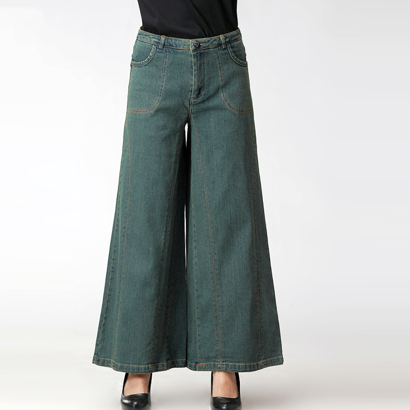 Washed Mujeres Denim Pantalones Vintage Suelta Verano Ancha 2 Pierna 1 Damas Flare Cremallera Vaqueros Ched Mujer Jeans w1YS41px