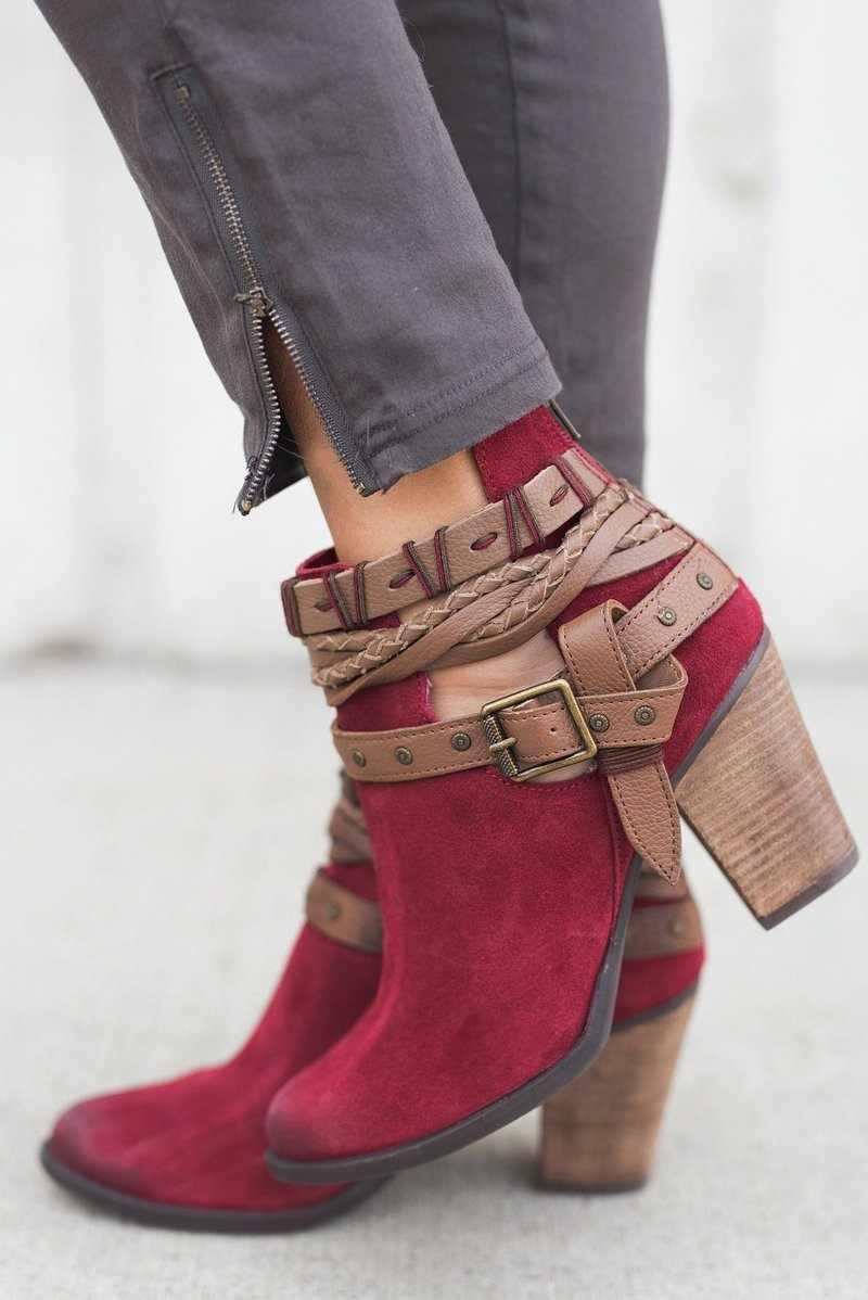 אופנה נשים מגפי חורף נשים גבוהה עקבים נעלי נשי מסמרת אבזם יומי נעלי עור מפוצל קרסול מגפי נשים נעליים