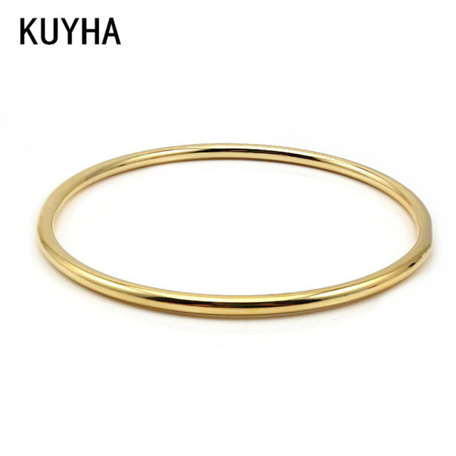 Stainless Steel Classic Round Gold 3MM Single Circle Bangle Simple ...