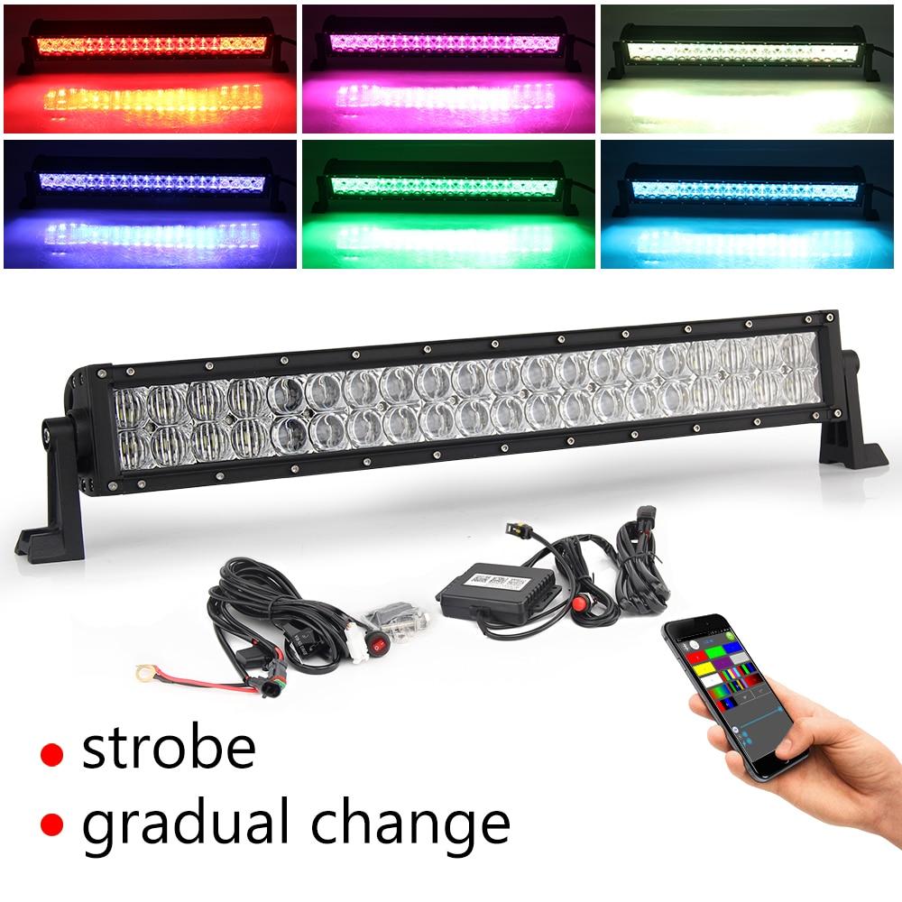 CO LIGHT 5D RGB LED Light Bar 22 120W Offroad Spot Flood Combo Led Bar Auto Driving Work Light for Uaz Truck 4X4 ATV SUV 12V24V