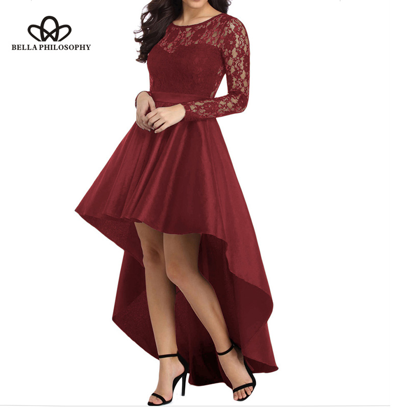 Bella Philosophy Solid Long Sleeves Lace Women Dress Tailcoat High Low Satin Party Dress Sexy Ladies High LowDress