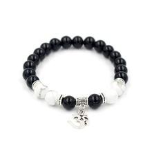 Wholesale 8mm Natural White Turquoise & Black Onyx Stone Bead Buddhist Buddha Pendant Meditation Prayer Bead Mala Bracelet