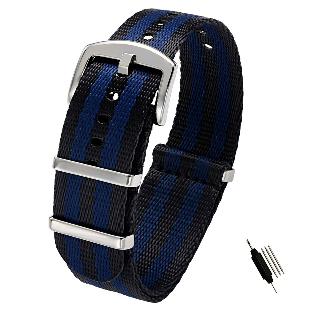 6356dd6e4 20mm 22mm Seat Belt Nylon NATO Zulu Strap Heavy Duty Military Watch Band  Replacement Watch Straps Black Blue Grey James Bond-in Watchbands from  Watches on ...