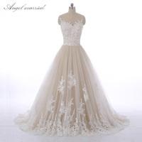 wedding dresses Cap Sleeve Appliqued Tulle Lace Bridal Dress Custom Made Scalloped Ivory Champagne Princess Wedding Dresses