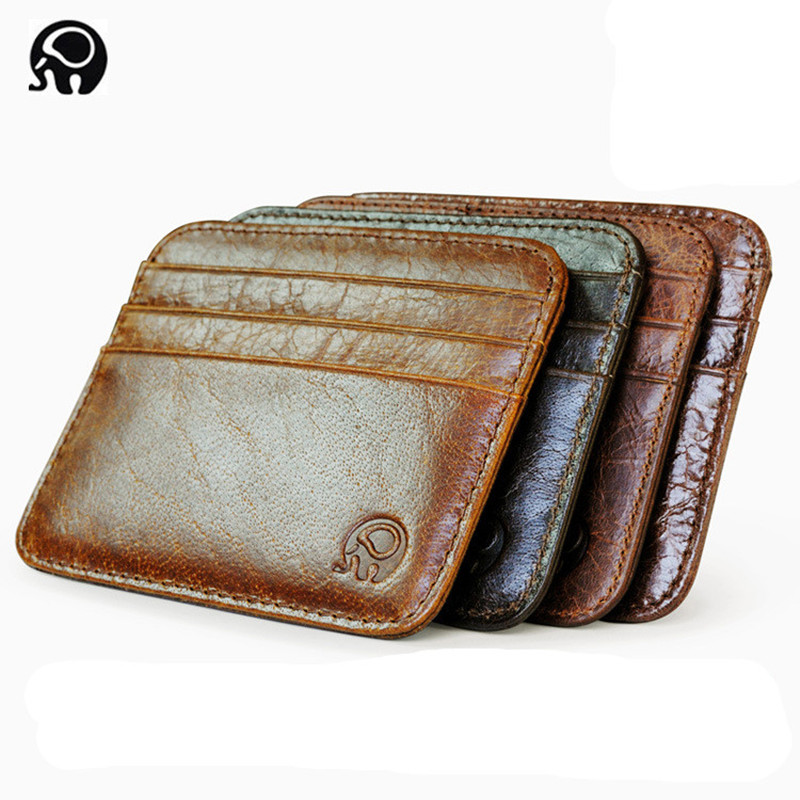 Fashion Genuine Leather Bank Card Case Thin Mini Card Wallet Men Business ID Credit Card Holder Cards Pack Cash Pocket Cheap NEW
