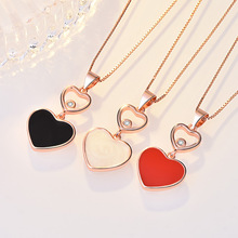 купить New Fashion Jewelry Double Heart Love Pendant Necklace For Women Chic Crystal I love you Necklace Chain Shape Plating по цене 181.72 рублей