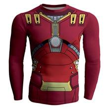 2017 Summer Hi-Q Quick-dry Slim Fitness Men's T-shirt Long Sleeve Male Tees The Avengers Iron Man Hulk Buster MK 44 Prints