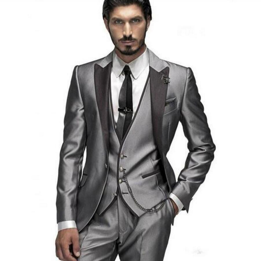 Custom Made Groom Tuxedo Silver Suit Peaked Lapel Best man Groomsman Men Wedding Prom Suits Bridegroom Jacket+Pant+Vest