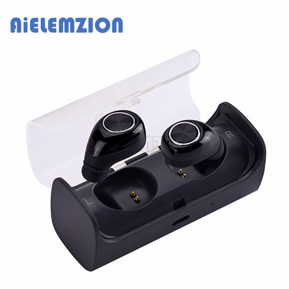 AiELEMZION Bluetooth True Wireless Stereo Earphone with Microphone Portable Mini Hands-free Earbuds with Charging Box