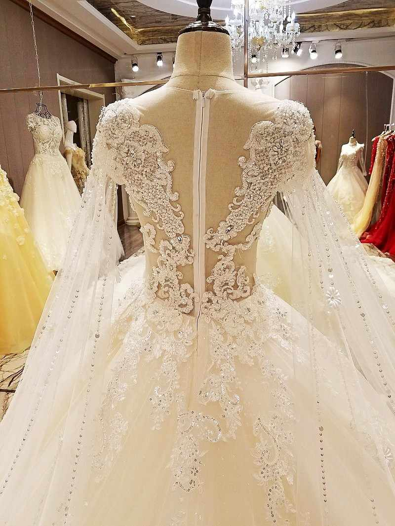 LS63889 Alibaba esticado vestido de bola real transparente zíper manga traseira mangas mais novos vestidos de noiva fotos reais