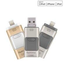 Usb флэш-накопитель 8 ГБ 16 ГБ 32 ГБ 64 ГБ для iPhone 7 плюс 6 5 5S Lightning чтобы металлическая ручка привода U диск для iOS10 Memory Stick 128 ГБ