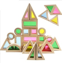 baby educational toy colorful rainbow montessori transparent acrilic wooden building blocks sensory toy Set big size 24pcs