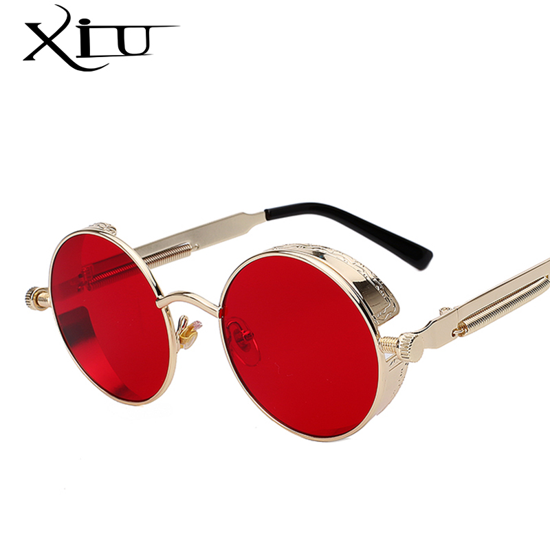 Ronda de Metal gafas de sol Steampunk hombres mujeres gafas de moda marca diseñador Retro Vintage Sunglasses UV400