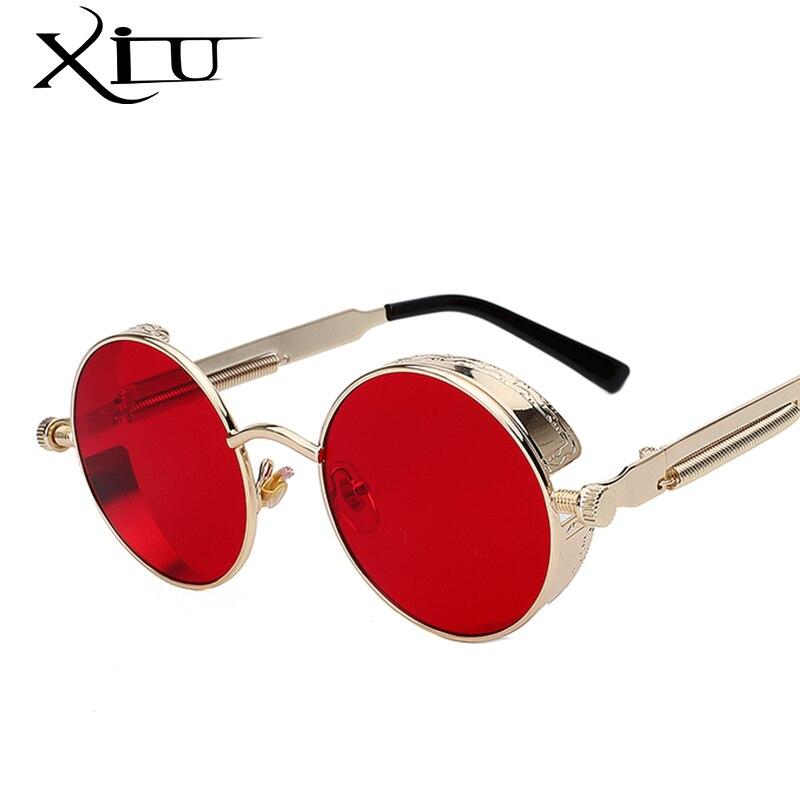 Ronda de gafas de sol de Metal Steampunk hombres mujeres moda gafas de marca de diseño Retro Vintage gafas de sol UV400
