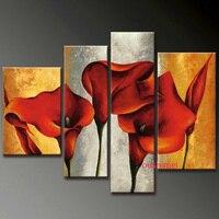 Ручной работы абстрактный современный красный цветок лилии маслом Ручная роспись стены Книги по искусству каллиграфии холст картина для Г...