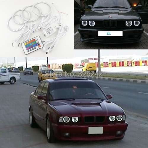 цена на For BMW E30 E32 E34 Excellent led Angel Eyes kit Multi-Color Ultra bright RGB LED Angel Eyes Halo Rings