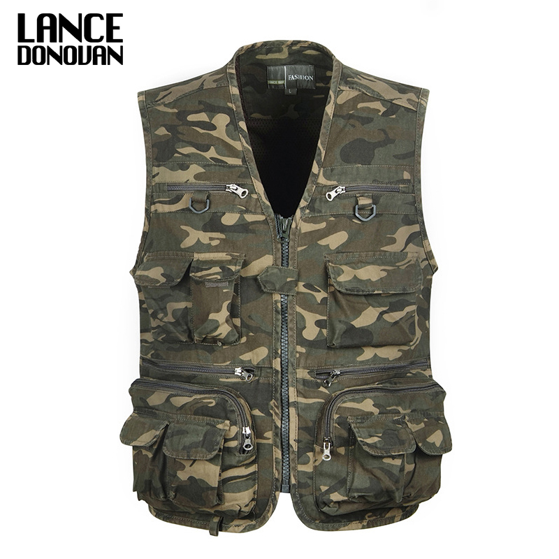 Camouflage Tactical Vest Men Army Green Multi Pocket Travel Photography Vests