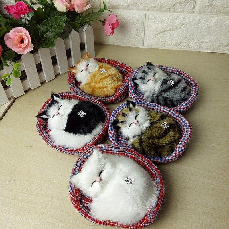 2019 New Design Kawaii Simulation Sounding Sleeping Cats Plush Toy With Nest Children's Favorite Birthday Christmas Gift