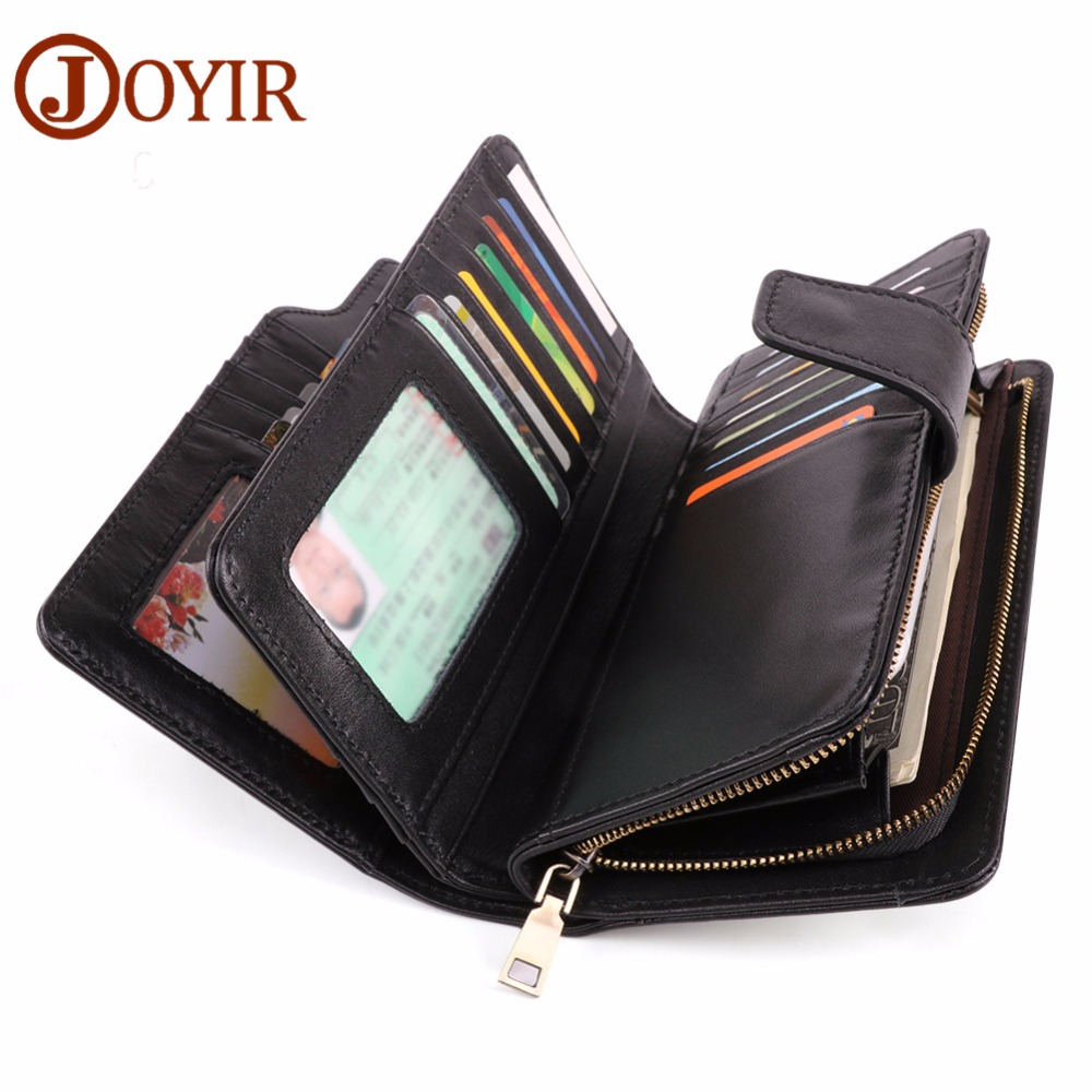 JOYIR Luxury Genuine Leather Men's Wallets Long Purse Male Wallet Card Holder Clutch Bags Leather Purse Walets Phone Bags New