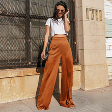 купить Women's Loose Wide Leg Pants High Waist Plus Size Full Length Flared Trousers Office Lady Maxi Woman Fashion Bottoms Culotte по цене 986.74 рублей