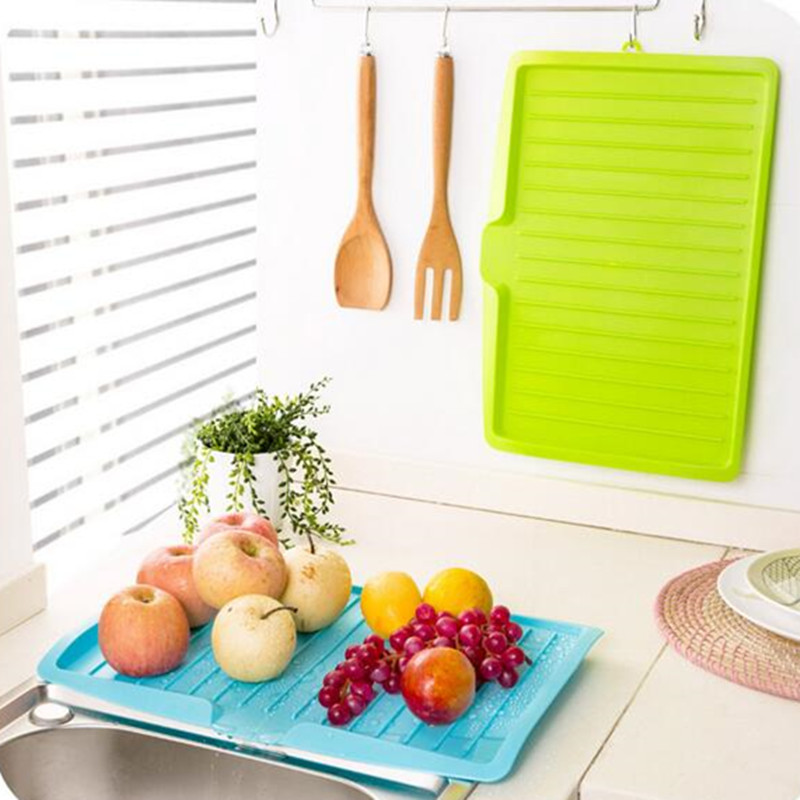 Hot Sale Kitchen Plastic Sinks With Drain Board Vegetable Fruit Tilted Dish Tray Sliding Shelf Drying Rack EA854