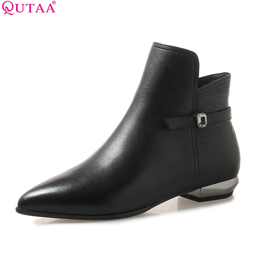 QUTAA 2019 Women Motorcycle Boots Fashion Women Shoes Pointed Toe Elegant Genuine Leather +pu Women Ankle Boots Big Size 34-42 size 34 43 2016 fashion women s ankle boots black motorcycle pu leather boots solid pointed toe martin boots autumn shoes