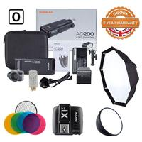 Godox Witstro AD200 Kit 2.4G TTL HSS Flash Strobe 1/8000s Portable Pocket Battery Powered Flash Monolight Dual Head 200W