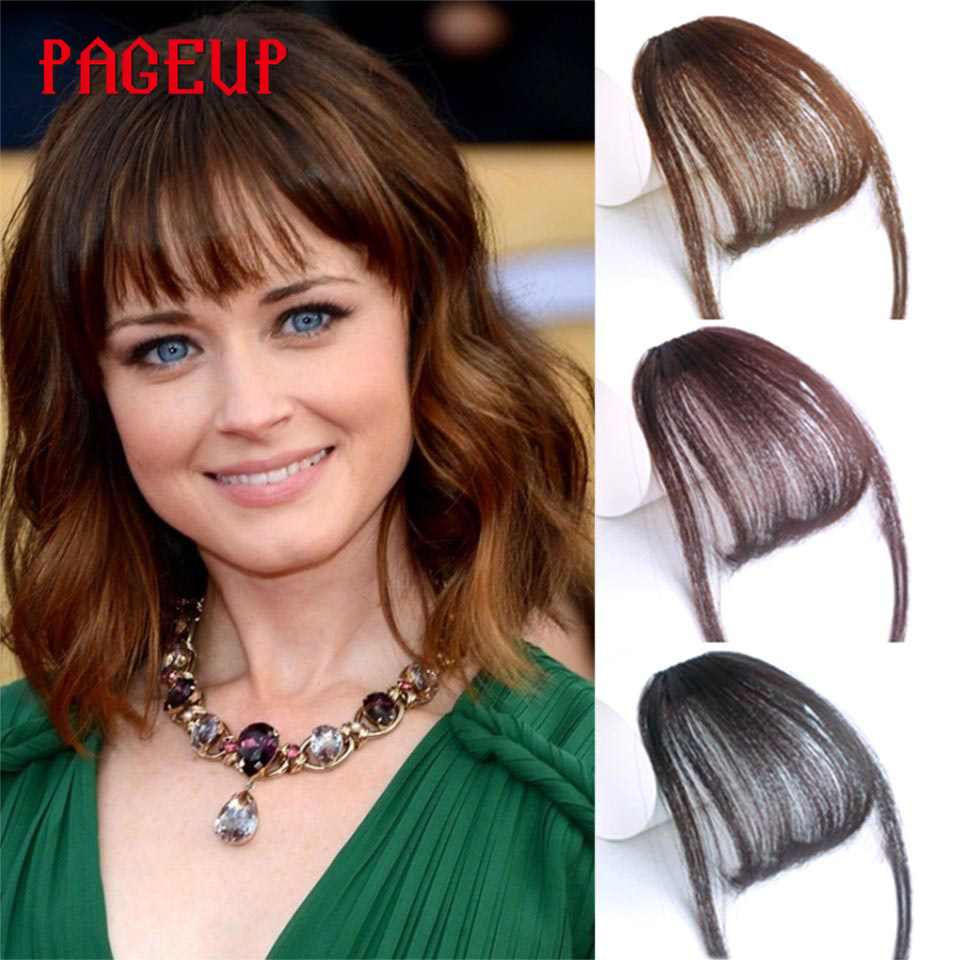 Pageup 6 Colors Synthetic Natural Front Bangs Hair pieces Clip In Fake Bangs For Women Clip In Hair Extensions Short Front Bangs (19)