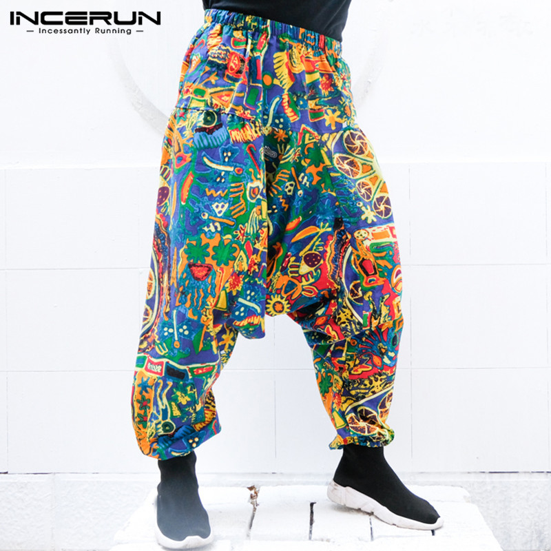 INCERUN Mens Harem Pants Loose Casual Drawstring Male Cross-pants Casual Geometric Printed Baggy Trousers Summer Vacation 5XL
