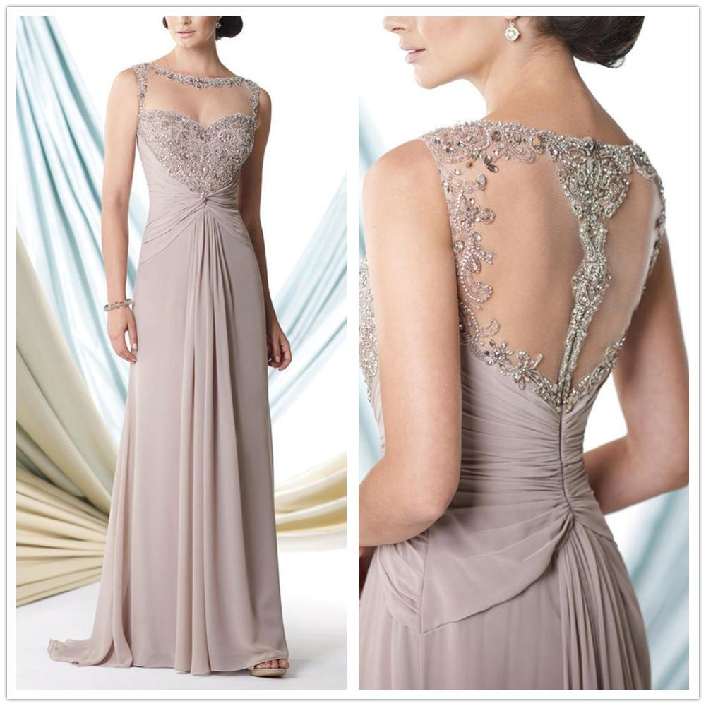 Vestidos De Novia 2019 Khaki Appliques Beading A-Line Chiffon Full-Length Sweep Train Mother Of The Bride Dresses Plus Size