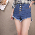 New 2017 Summer Women's Fashion  Vintage Tassel Short in front long Loose High Waisted Short Jeans Sexy Woman Denim Shorts B447